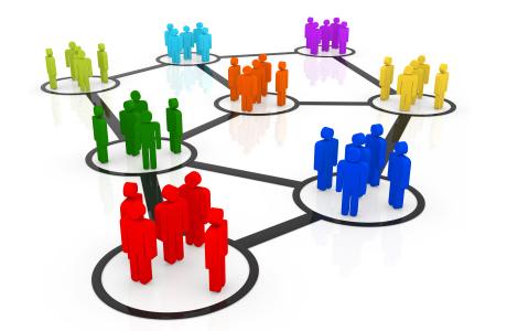 gei gruppi di omini dentro dei cerchi collegati tramite linee