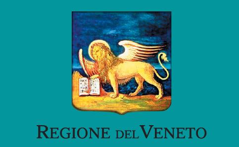 il leone di San Marco con libro aperto e scritta in basso Regione del Veneto