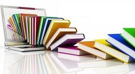una serie di libri con copertina colorata che escono da un portatile