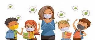 un fumetto con dei bambini e una maestra con la mascherina