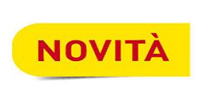 scritta novità in rosso su sfondo giallo